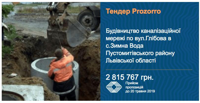 тендер будівництво каналізації