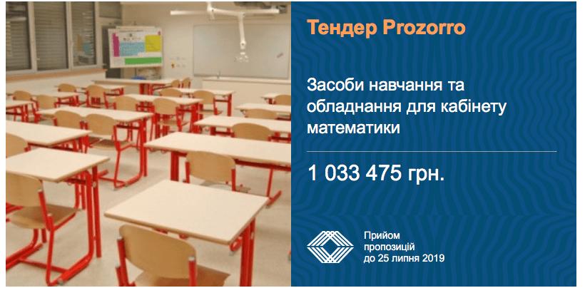 тендер обладнання кабінетів математики