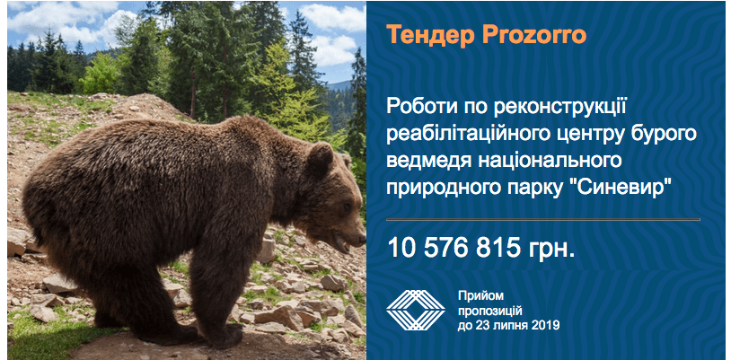 тендер реконструкція реабілітаційного центру бурого ведмедя