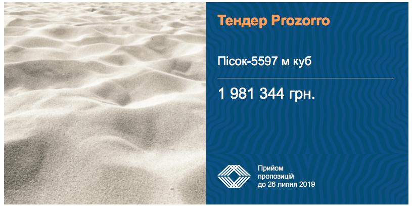 тендер закупівлі піску