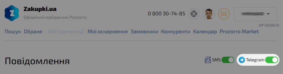 Перемикач сповіщень Telegram